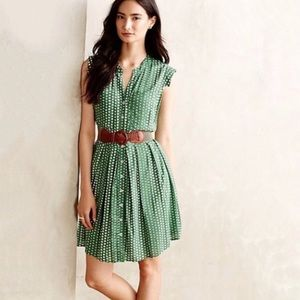 Anthropologie 11 1 Tylho Green Polka Dot Dress